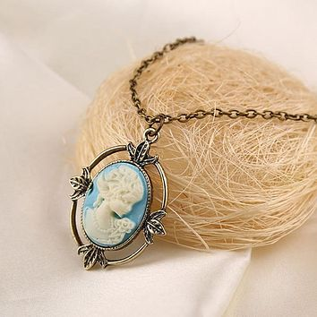 New Vintage Style Bronze Light Blue Cameo Necklace The Vampire Diaries Katherine Beauty Head Pendant Necklace for Women