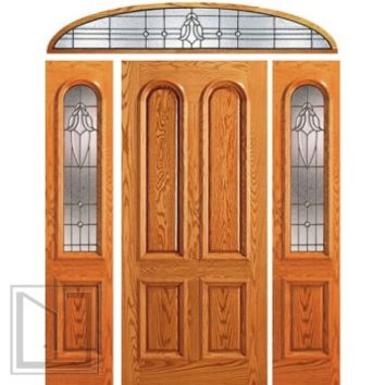 Prehung Mahogany Arch Lite Door, Two Sidelights Elliptical Transom