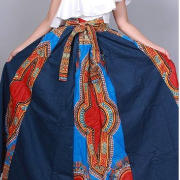 Denim Dashiki Maxi Skirt