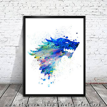 House Stark  Watercolor Print, Game Of Thrones art, watercolor art, Game Of Thrones print,movie poster,Game Of Thrones Illustration