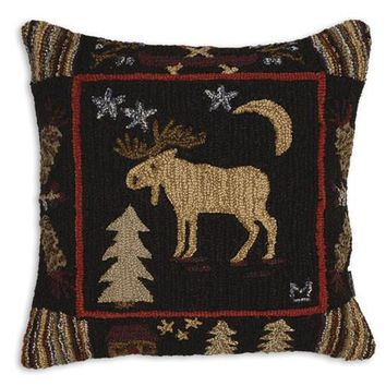 Night Moose Hooked Wool Pillow - 26""