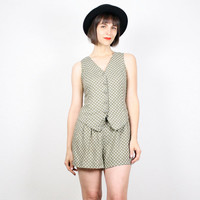 Vintage 90s Romper Vest Top Shorts Jumper Moss Green Floral Playsuit 1990s Romper Soft Grunge Shorts Onesuit Jumper Outfit S Small M Medium