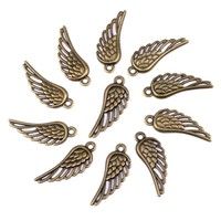 20 Pieces Angel Wings Protection Charms Findings for Jewelry Pendant Necklace Making 33mm X 12mm