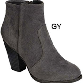 Ladies Suede Bootie, Grey