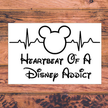 Heartbeat Of A Disney Addict | Minnie Mickey Castle | Walt Disney World Decal | Walt Disney Land Decal | Preppy Mickey Minnie Home | 362