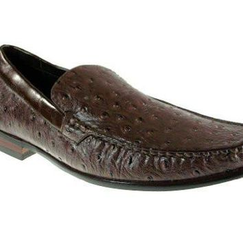 Ferro Aldo Men's 109219 Faux Ostrich Loafers Shoes