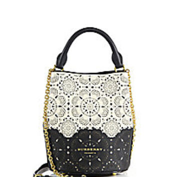 Burberry - Small Two-Tone Laser-Cut Leather Bucket Bag - Saks Fifth Avenue Mobile