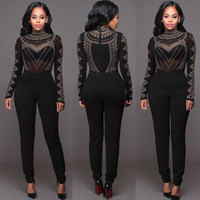 Black Beaded Long Sleeve Jumpsuit