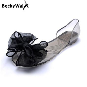 Sweet Bowknot Women Sandals Summer Jelly Shoes Woman Crystal Transparent Flats Casual