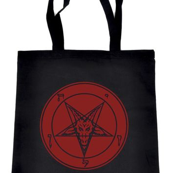 Solid Red Sabbatic Baphomet Tote Book Bag Satan Inverted Pentagram