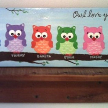 "6"" x 18"" Owl ""Owlettes"" (Personalized Sign) Wall Decor Wood Sign"