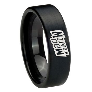 8MM Brush Black Mountain Dew Pipe Cut Tungsten Carbide Laser Engraved Ring
