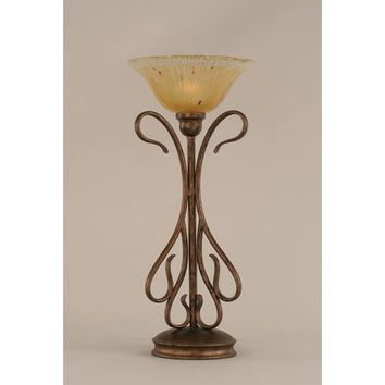 Toltec Lighting 38-BRZ-730 Swan Bronze Two-Light Table Lamp with Amber Crystal Glass Shade