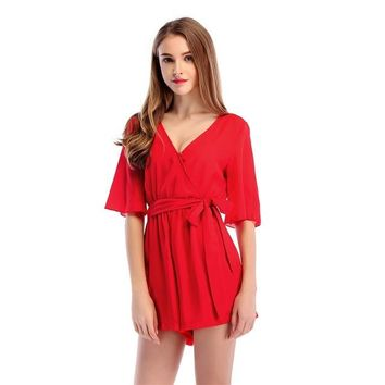 Women's Solid Color V-Neck Romper Jumpsuit