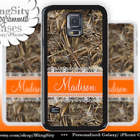 Camo Orange Lace Monogram Galaxy S5 S6 case S4 Tree Camo Custom Name Hunting Personalized Galaxy S3 Case Note 2 3 Cover Country Girl