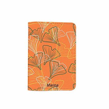 Ginkgo Leaves Customized Cute Leather Passport Holder - Passport Covers - Passport Wallet_SUPERTRAMPshop