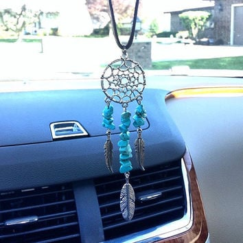 Dream Catcher Mirror Hanging Dream Catcher Turquoise Dream Catcher Web Feathers Turquoise Country Cowgirl Indian Boho Tribal Western South