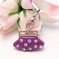 Pink Purse Cell Phone Charm Strap Rhine Stone