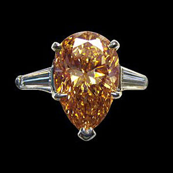 2 carat pear cut champagne diamond engagement ring gold