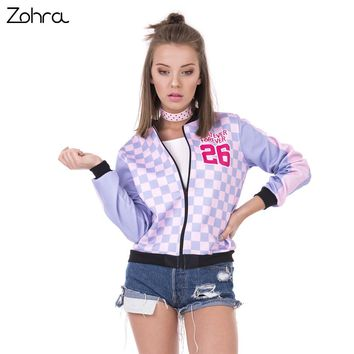 Zohra New Fashion Women Bomber Jacket Whatever Forever Printing Slim Chaquetas Mujer Fitness Basic Jacket for Woman