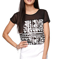 LA Hearts Mesh Inset Sequin Shirt at PacSun.com