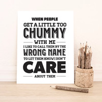 BUY 2 GET 1 FREE Typography Print, Quote Print, Ron Swanson Quote, Parks and Rec, Black White, Wall Decor - Wrong Name (8x10)