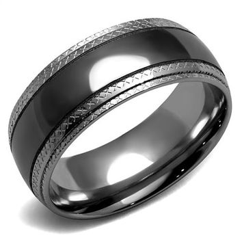 Men's Black & Grey Stainless Steel Wedding Bands Ring