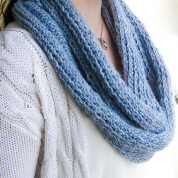Blue knit infinity scarf, women winter cowl scarf, circle scarf, winter accessories, women clothing, teen clothing, handmade