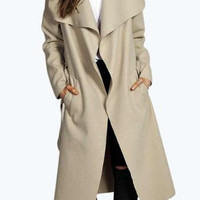 Large Size Belted Woolen Long Coat Cardigan 12690