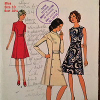 """Vintage Style Sewing Pattern 3718 for """"Miss Petites and Misses Dressr"""" From 1972 / Size 10 Bust 32.5"""