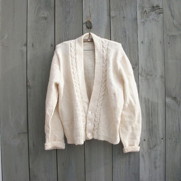 Vintage cardigan - Ivory cable knit boyfriend sweater