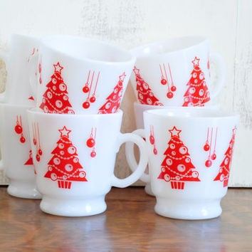Vintage Milk Glass Red Christmas Tree Cups, Hazel Atlas, Set of Seven