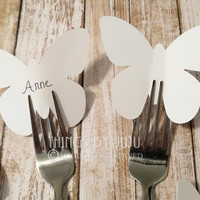 "50 Extra Large White Paper Butterflies, 3 Inch Butterfly Placecards, Butterfly Party, DIY Wedding Place Card (3 x 2 1/2"")"