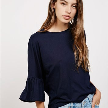 Navy Bell Sleeve Loose Blouse