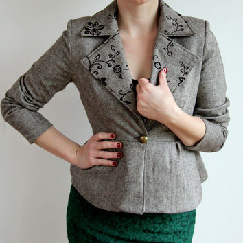 Tweed women peplum jacket, slim fit brown tweed blazer, peplum jacket