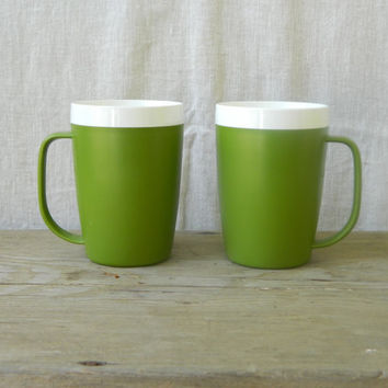 Set of Two avocado green, retro, David Douglas Designer Collection, Insulated Therm Ware Mugs
