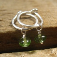 Hoop Earrings Sterling Silver with Bright Green Roundel Dangle