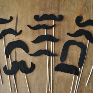 Set of 12 // Mustaches on a Stick // Soft Felt // by Perfectionate