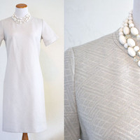 1960s Sheath Dress Silver Geometric Knit