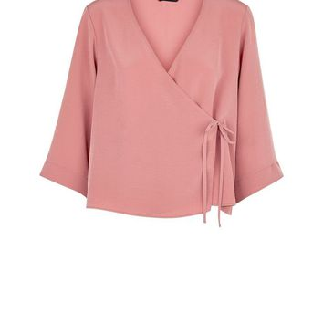 Mid Pink Wrap Front Top | New Look