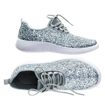 Remy18 by Forever Link, Lace up Rock Glitter Fashion Sneaker w Elastic Tongue & White Outsole