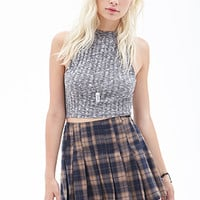 FOREVER 21 Pleated Plaid Mini Skirt Navy/Multi
