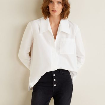 Oversize organic cotton shirt - Women | MANGO United Kingdom