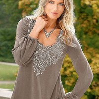 Embroidered Detail Top in Taupe | VENUS