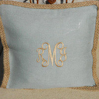 Monogram French Blue Burlap Pillow Cover  Font shown INTERLOCKING in khaki