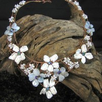 Flower Collar Necklace, Aquamarine And Keishi Petal Pearls On Copper