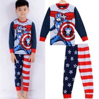 Cartoon Captain America Kids Baby Boys Nightwear Pj's Sleepwear Pajamas set children clothes 1~7Y
