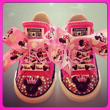 Minnie Mouse Childrens Converse Silver Swarovski Diamonte / Diamante or any other colour/ Character Hand Made To Order