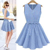 Light Blue Stripe V Neck Button Up Dress