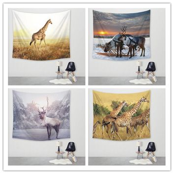 New Giraffe Print Tapestry Hippie Home Decorative Wall Hanging Tapestries Table Cloth 150x130cm